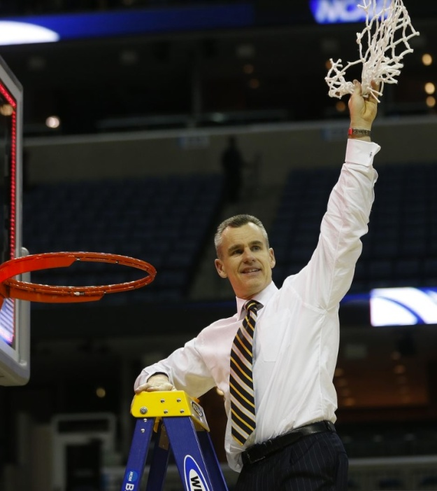 This is the coach of a top-seeded team cutting down the nets after a regional final.  A rare sight indeed.