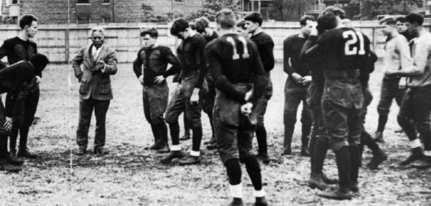 Amos Alonzo Stagg coaching the University of Chicago Maroons.