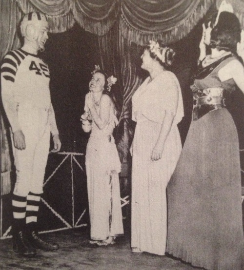 "In 1949, a decade after his school discontinued the sport, University of Chicago president Robert Maynard Hutchins appeared at a costume ball as a football player. (From ""Stagg's University,"" by Robin Lester.)"